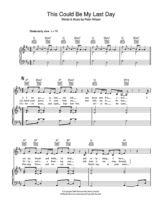 Duke Special This Could Be My Last Day sheet music notes and chords. Download Printable PDF.