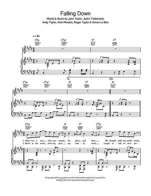 Duran Duran Falling Down sheet music notes and chords. Download Printable PDF.