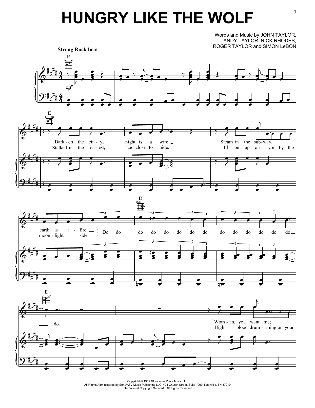 Duran Duran Hungry Like The Wolf sheet music notes and chords. Download Printable PDF.