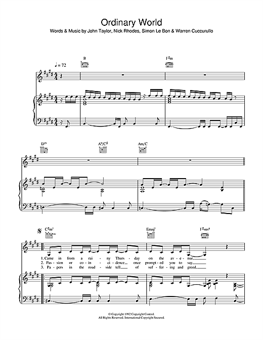 Duran Duran Ordinary World sheet music notes and chords. Download Printable PDF.
