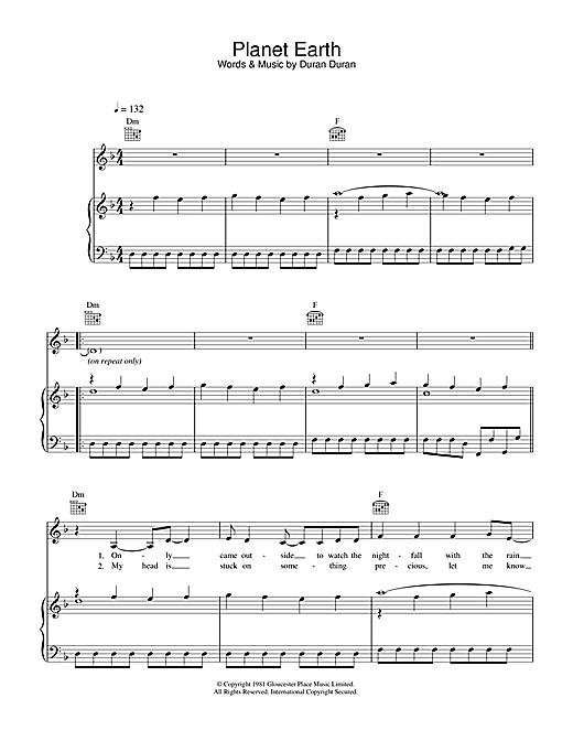 Duran Duran Planet Earth sheet music notes and chords. Download Printable PDF.