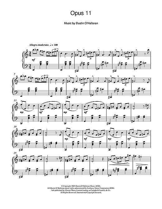 Dustin O'Halloran Opus 11 sheet music notes and chords. Download Printable PDF.