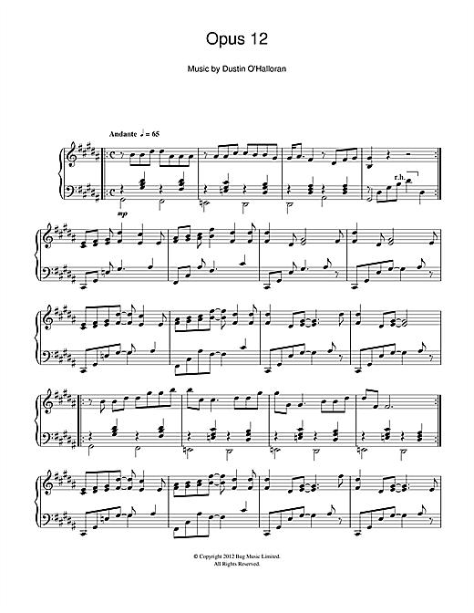 Dustin O'Halloran Opus 12 sheet music notes and chords. Download Printable PDF.