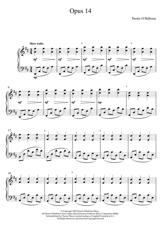 Dustin O'Halloran Opus 14 sheet music notes and chords. Download Printable PDF.