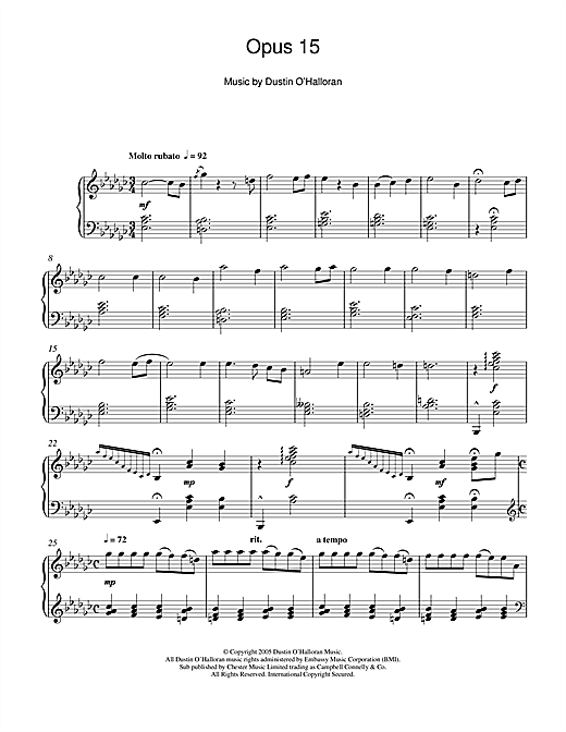 Dustin O'Halloran Opus 15 sheet music notes and chords. Download Printable PDF.