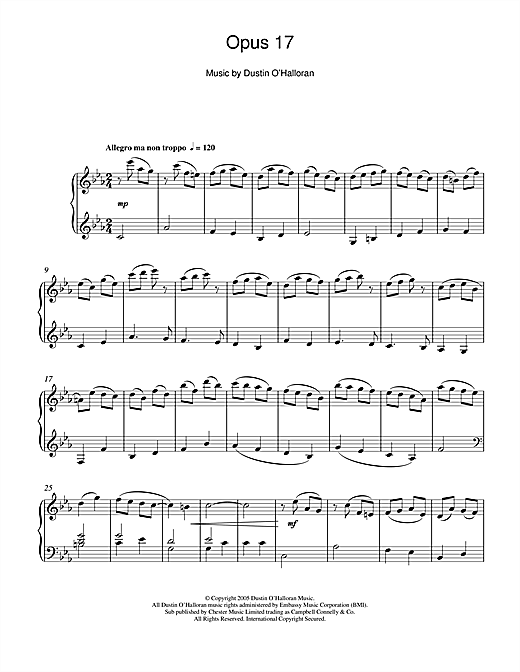 Dustin O'Halloran Opus 17 sheet music notes and chords