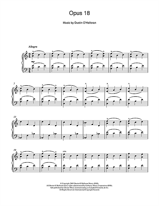 Dustin O'Halloran Opus 18 sheet music notes and chords. Download Printable PDF.