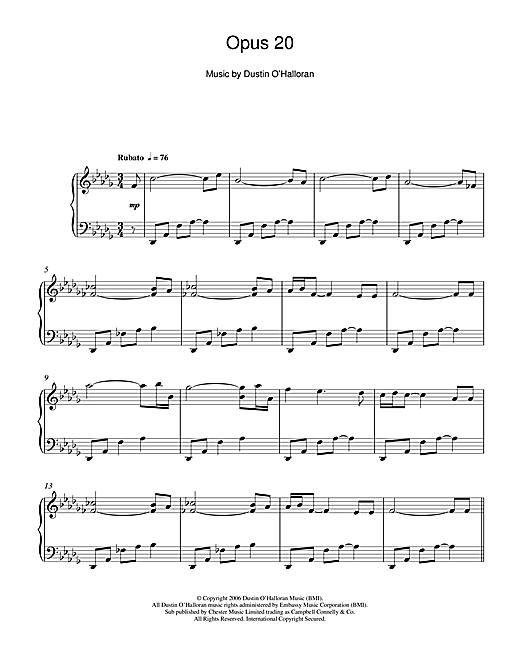 Dustin O'Halloran Opus 20 sheet music notes and chords. Download Printable PDF.