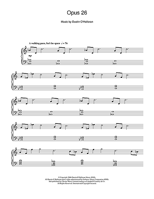 Dustin O'Halloran Opus 26 sheet music notes and chords