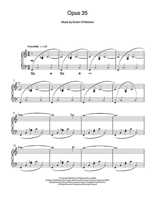 Dustin O'Halloran Opus 35 sheet music notes and chords. Download Printable PDF.
