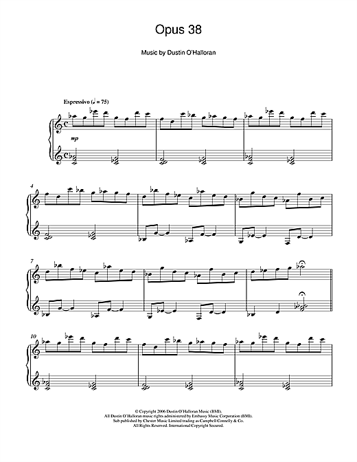 Dustin O'Halloran Opus 38 sheet music notes and chords