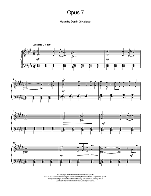 Dustin O'Halloran Opus 7 sheet music notes and chords. Download Printable PDF.