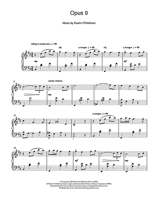 Dustin O'Halloran Opus 9 sheet music notes and chords. Download Printable PDF.