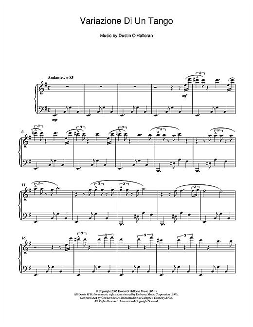 Dustin O'Halloran Variazione Di Un Tango sheet music notes and chords. Download Printable PDF.