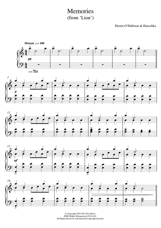 Dustin O'Halloran & Hauschka Memories (from 'Lion') sheet music notes and chords. Download Printable PDF.