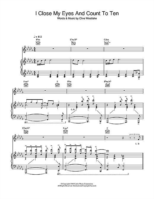 Dusty Springfield I Close My Eyes And Count To Ten sheet music notes and chords. Download Printable PDF.