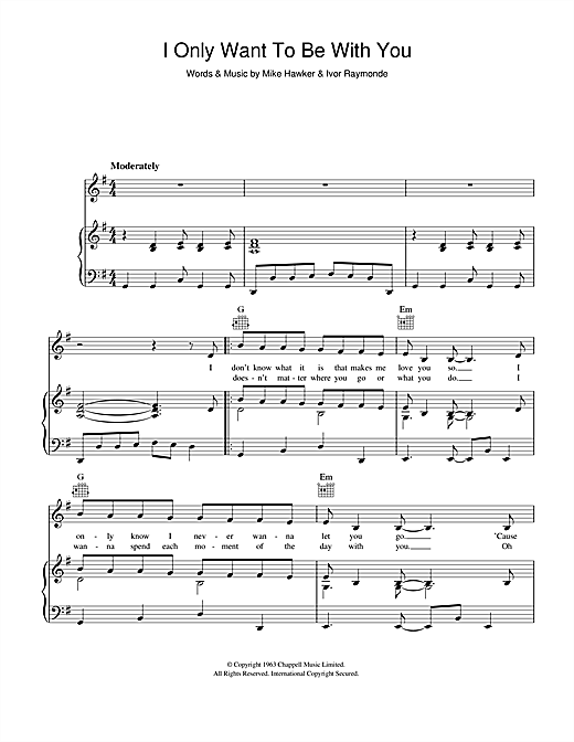 Dusty Springfield I Only Want To Be With You sheet music notes and chords. Download Printable PDF.