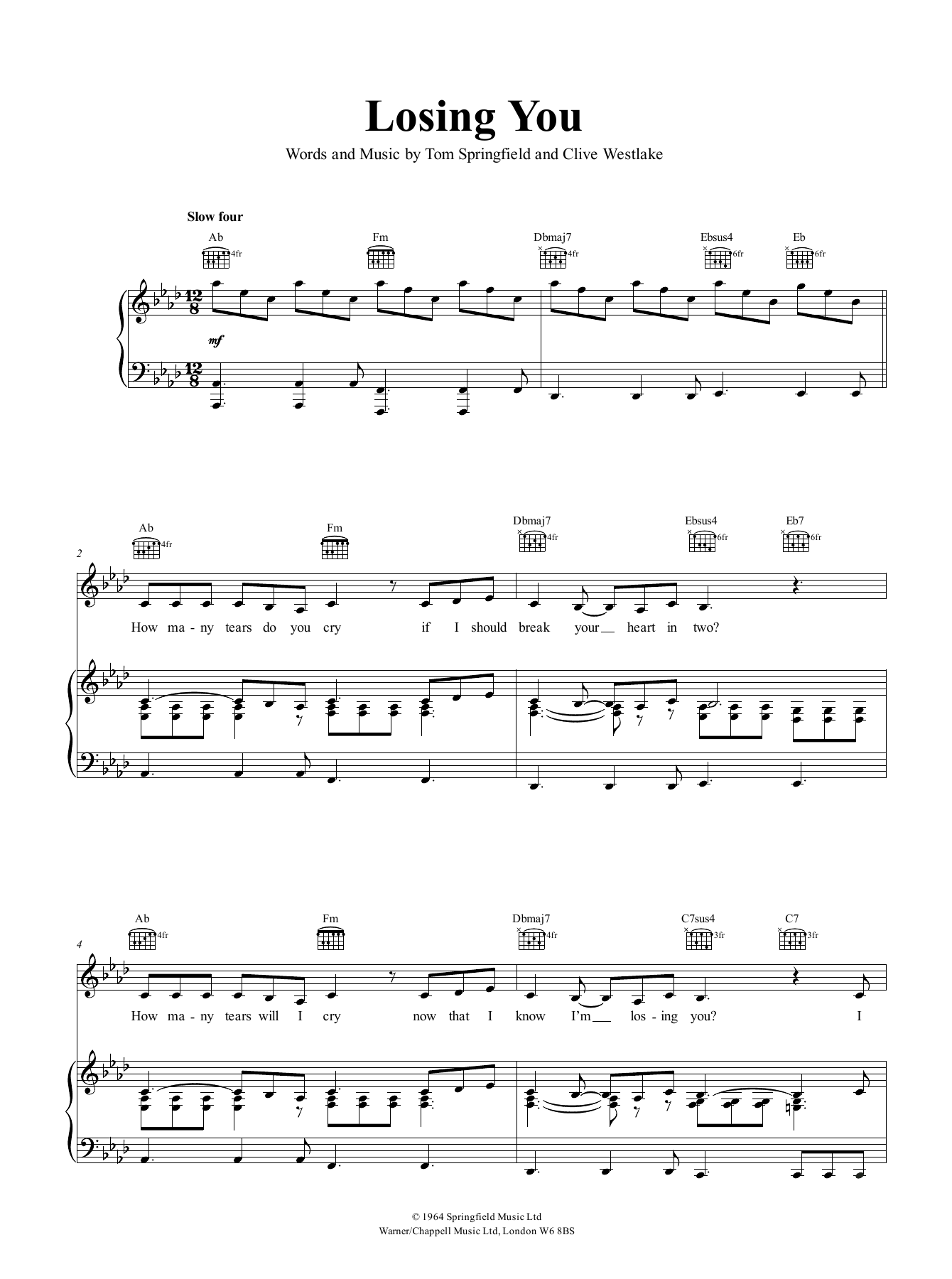 Dusty Springfield Losing You sheet music notes and chords. Download Printable PDF.
