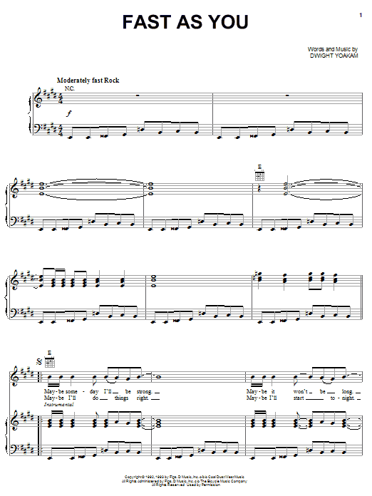 Dwight Yoakam Fast As You sheet music notes and chords. Download Printable PDF.