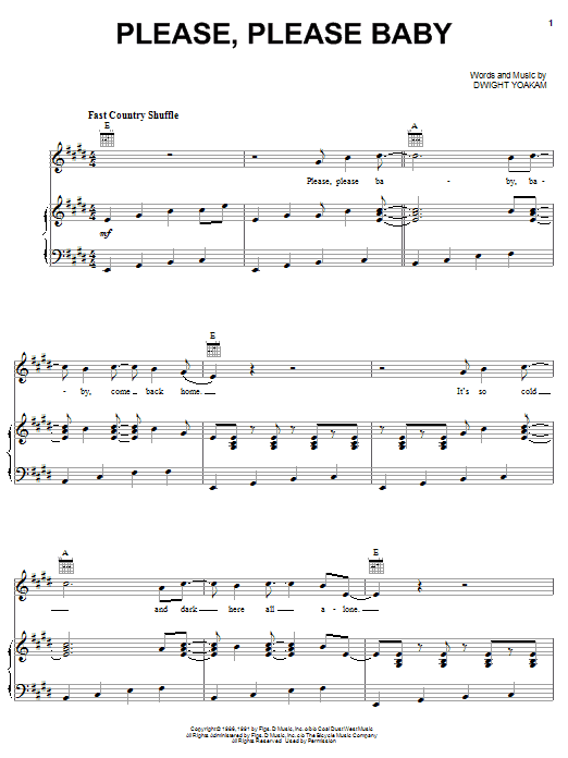 Dwight Yoakam Please, Please Baby sheet music notes and chords. Download Printable PDF.