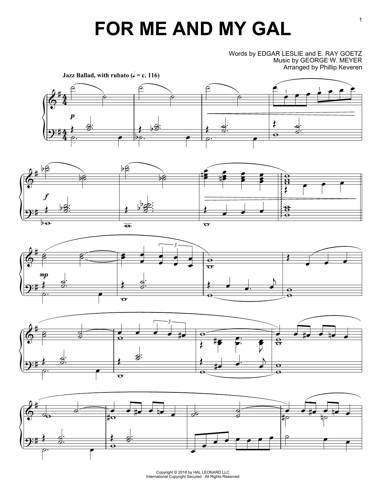 E. Ray Goetz For Me And My Gal [Jazz version] (arr. Phillip Keveren) sheet music notes and chords. Download Printable PDF.