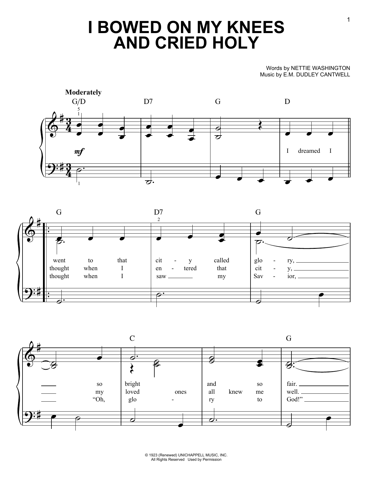 E.M. Dudley Cantwell I Bowed On My Knees And Cried Holy sheet music notes and chords. Download Printable PDF.