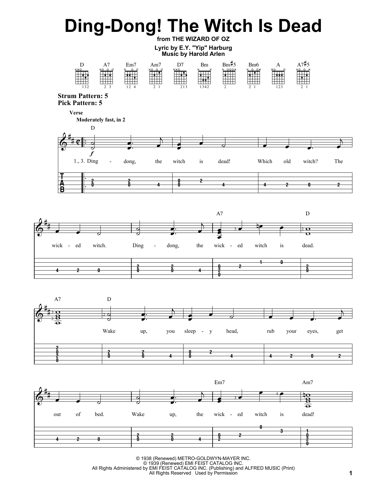 Harold Arlen Ding-Dong! The Witch Is Dead sheet music notes and chords. Download Printable PDF.