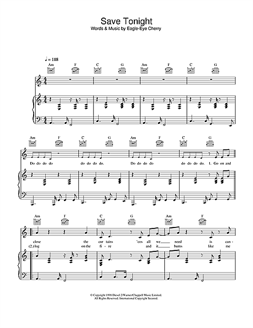 Eagle-Eye Cherry Save Tonight sheet music notes and chords. Download Printable PDF.