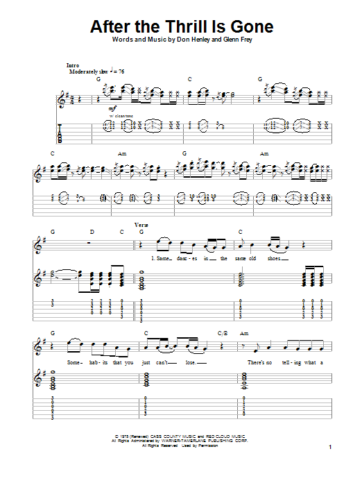 The Eagles After The Thrill Is Gone sheet music notes and chords