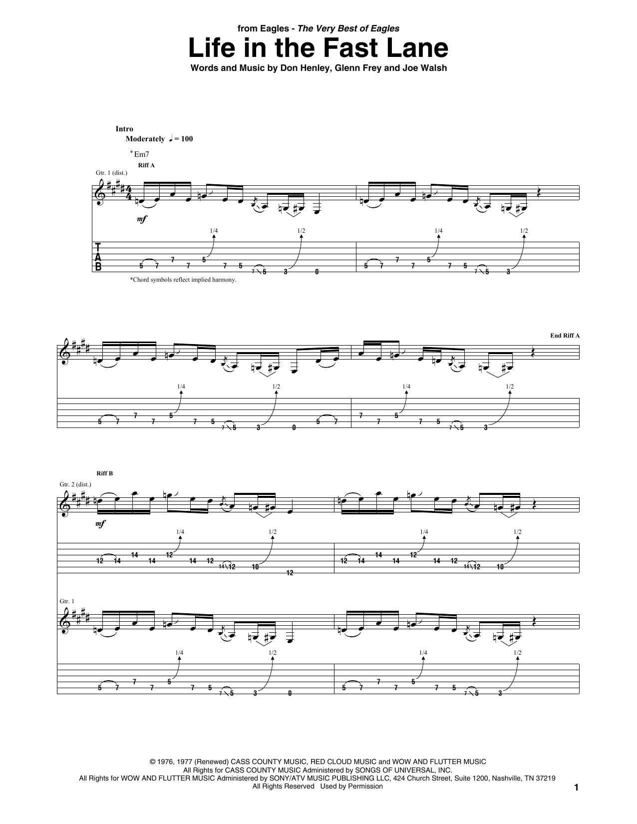 Eagles Life In The Fast Lane sheet music notes and chords