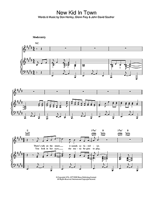 Eagles New Kid In Town sheet music notes and chords. Download Printable PDF.
