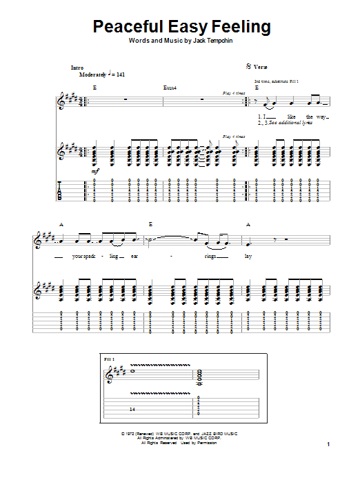 Eagles Peaceful Easy Feeling sheet music notes and chords. Download Printable PDF.