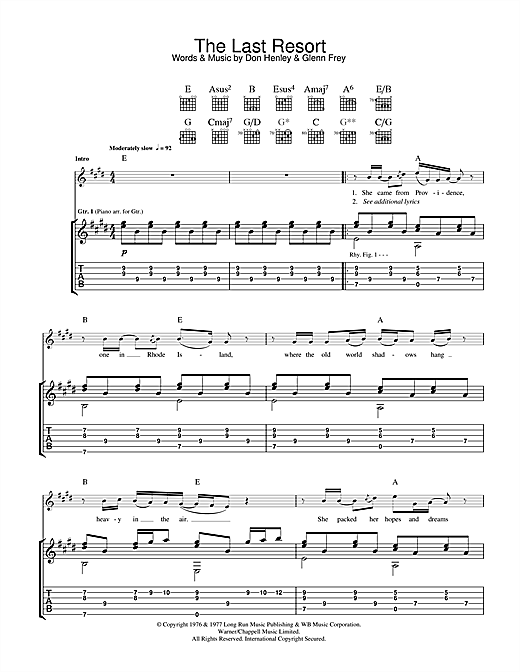 Eagles The Last Resort sheet music notes and chords. Download Printable PDF.