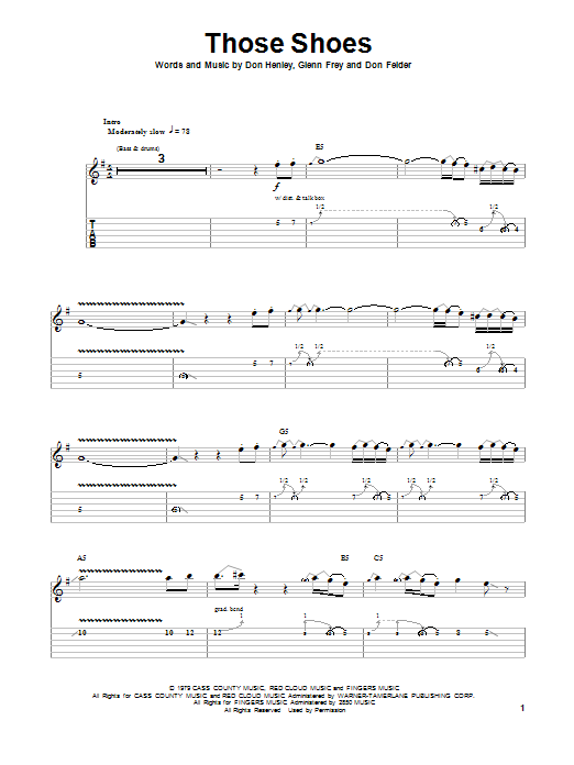 Eagles Those Shoes sheet music notes and chords. Download Printable PDF.