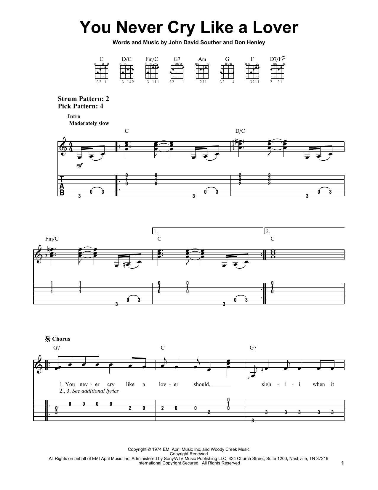 The Eagles You Never Cry Like A Lover sheet music notes and chords