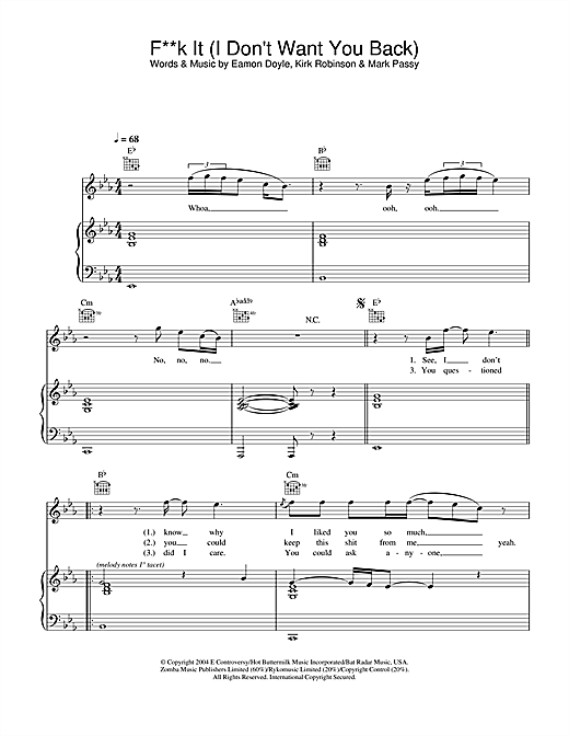 Eamon Fuck It (I Don't Want You Back) sheet music notes and chords. Download Printable PDF.