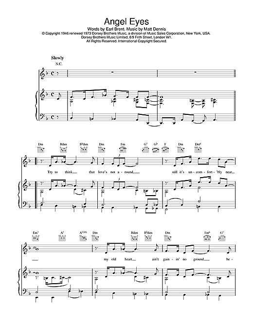 Earl Brent & Matt Dennis Angel Eyes sheet music notes and chords