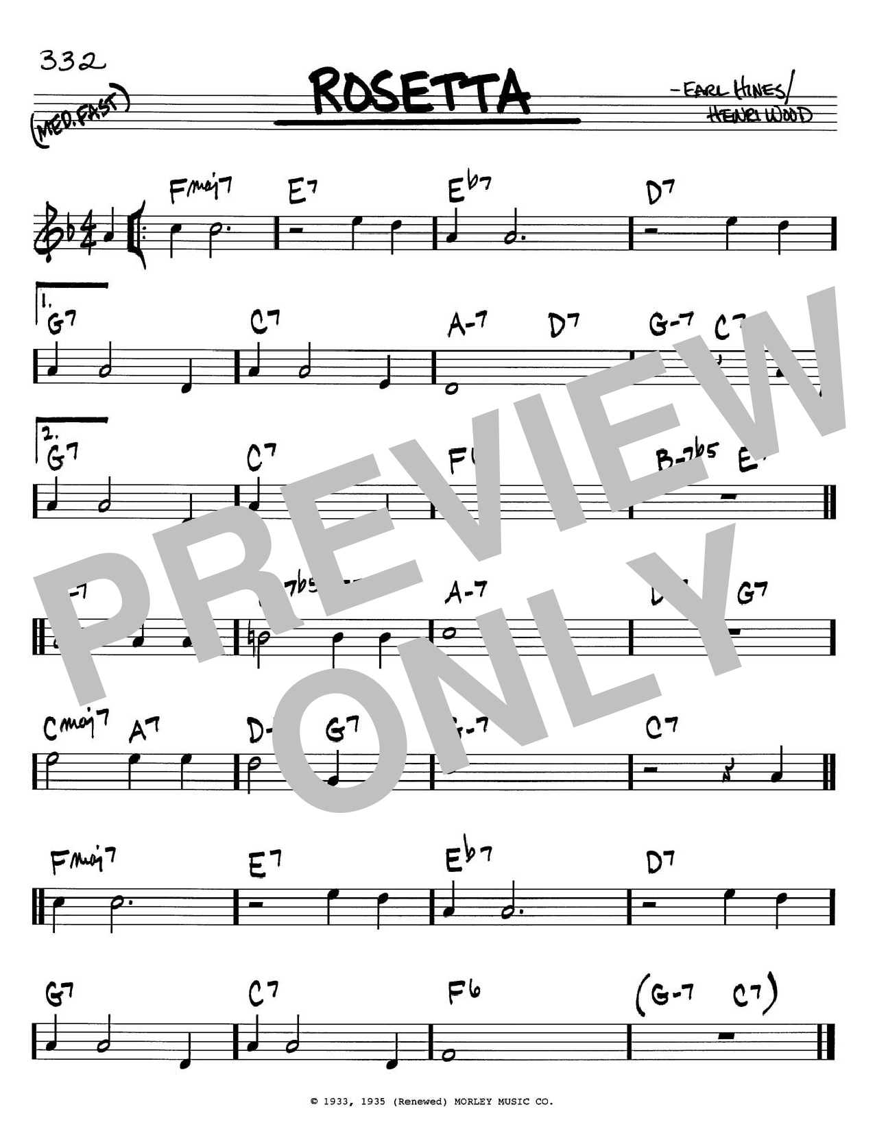 Earl Hines Rosetta sheet music notes and chords. Download Printable PDF.
