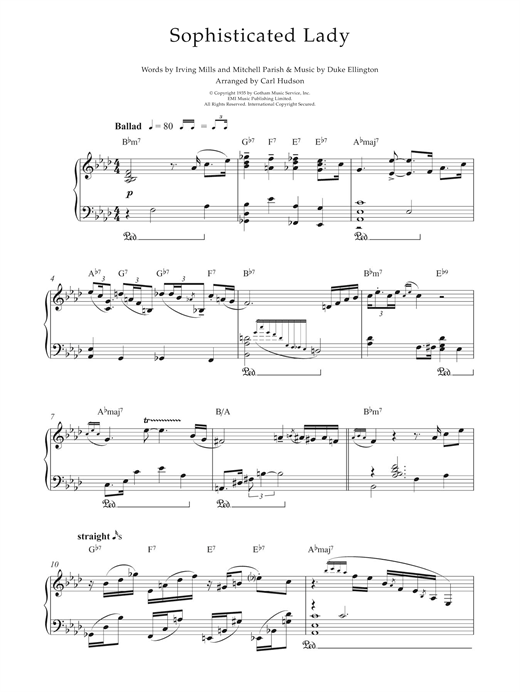 Earl Hines Sophisticated Lady sheet music notes and chords. Download Printable PDF.