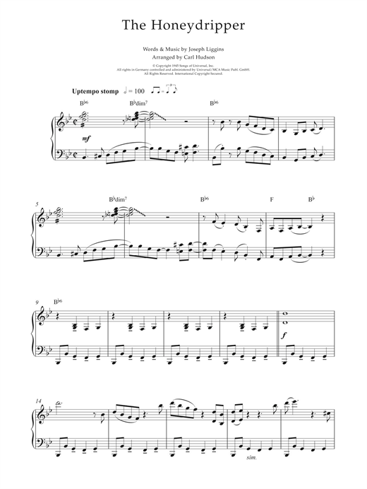 Earl Hines The Honeydripper sheet music notes and chords