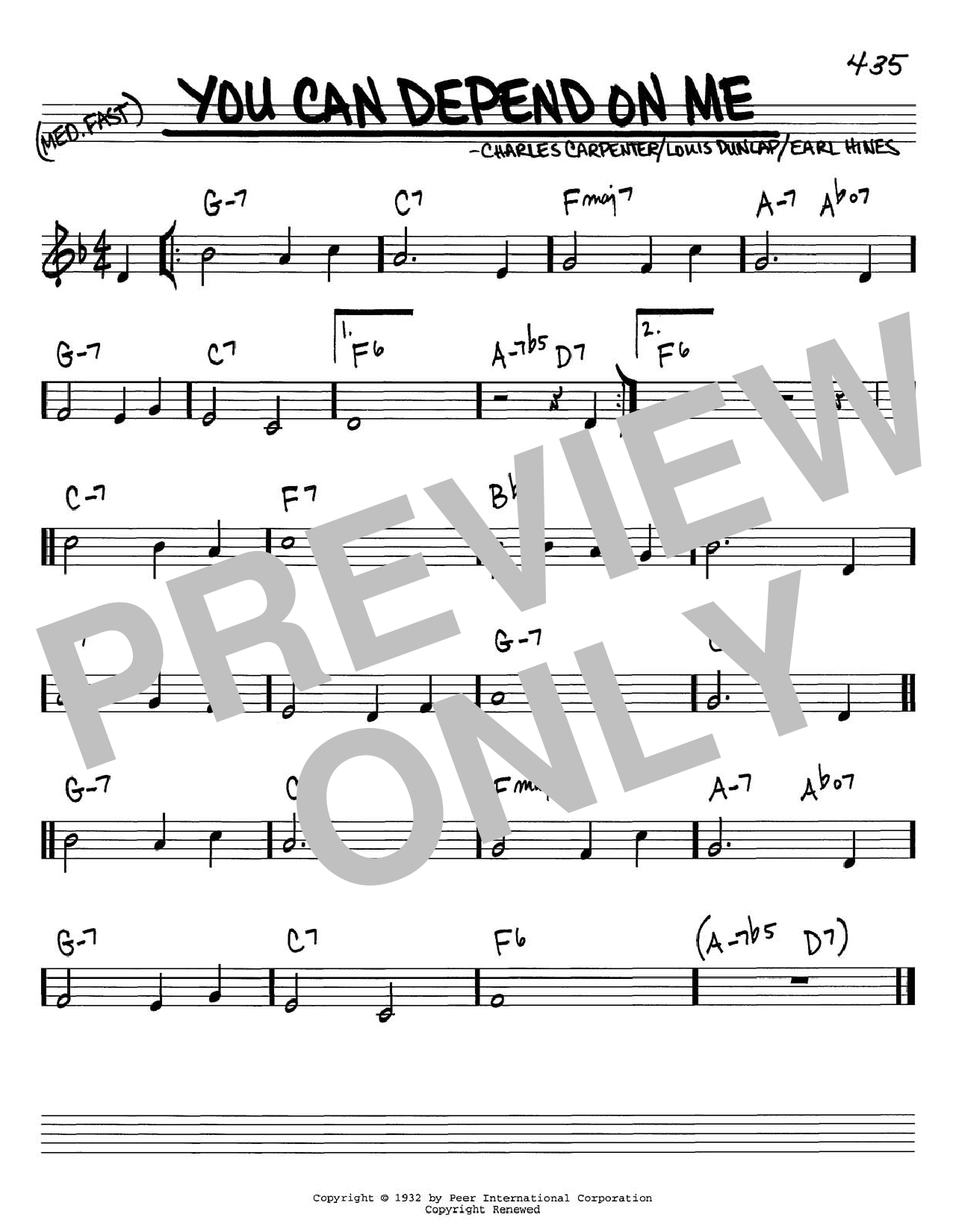 Earl Hines You Can Depend On Me sheet music notes and chords