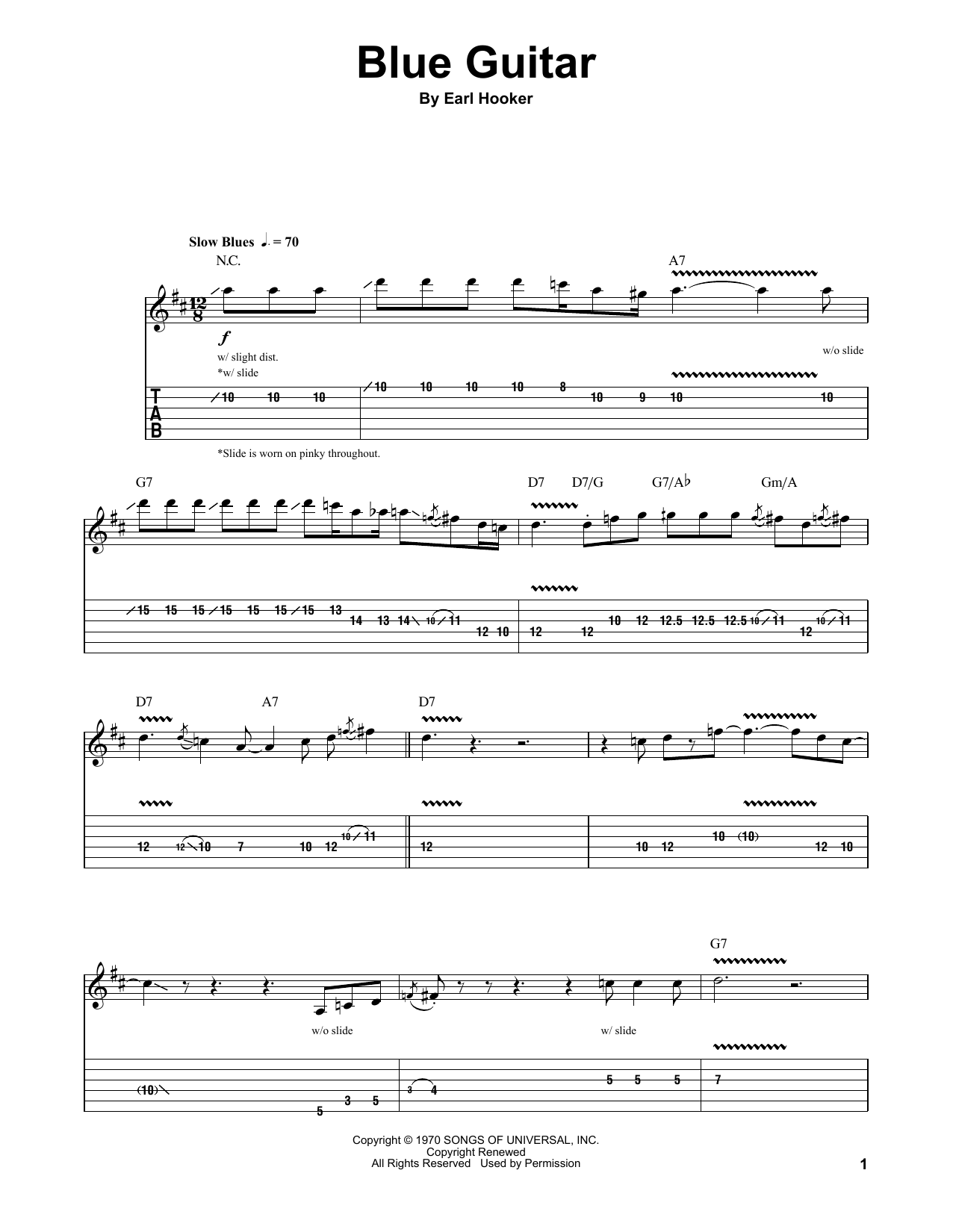 Earl Hooker Blue Guitar sheet music notes and chords. Download Printable PDF.
