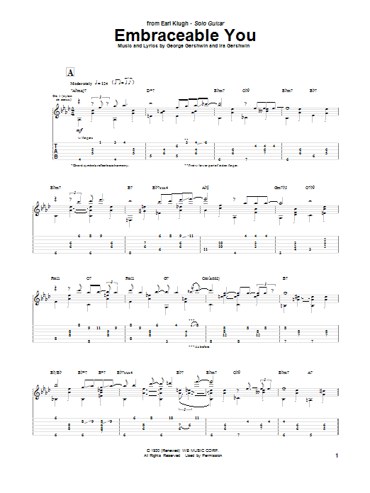 Earl Klugh Embraceable You sheet music notes and chords. Download Printable PDF.