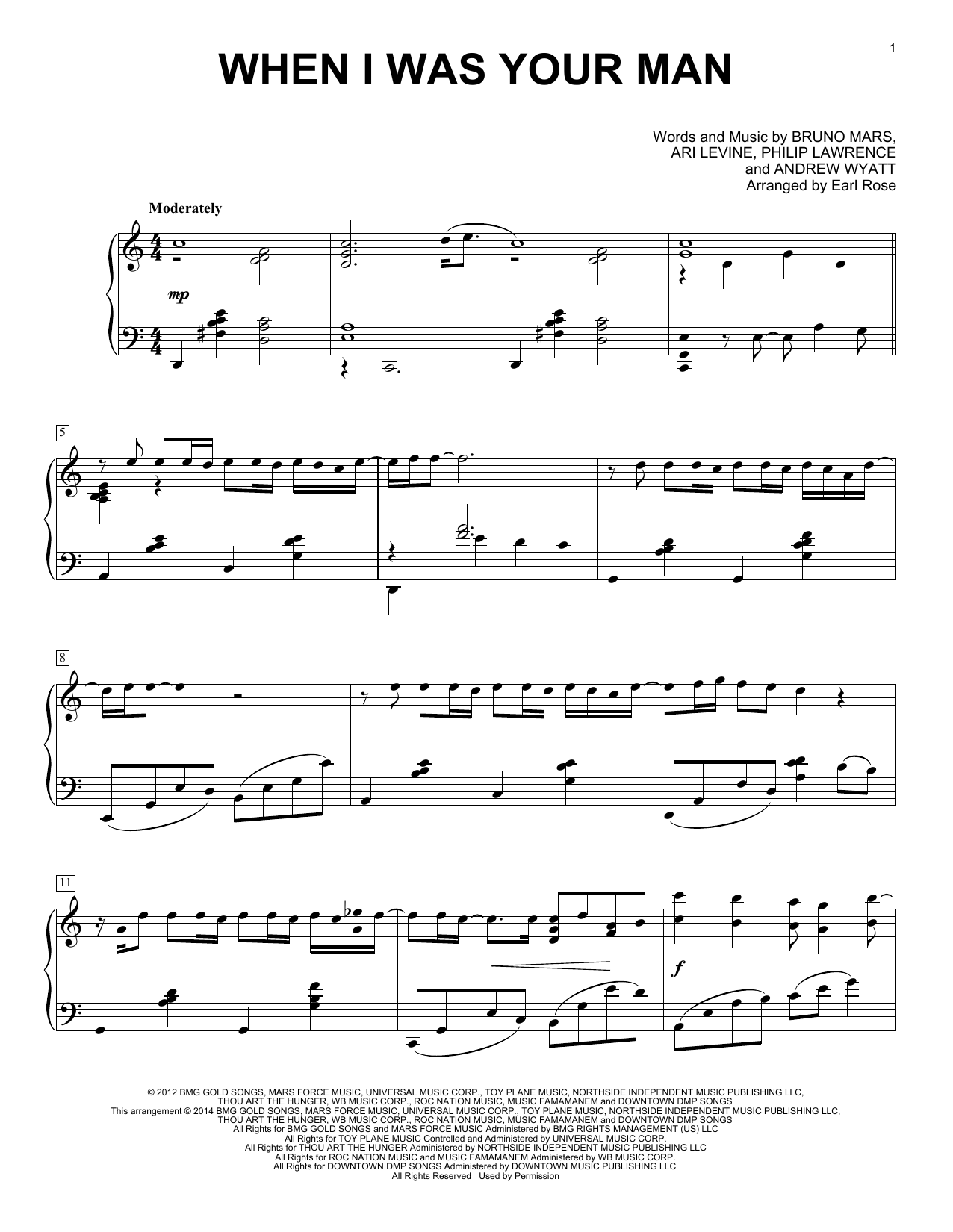 Earl Rose When I Was Your Man sheet music notes and chords. Download Printable PDF.