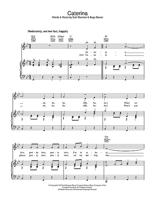 Earl Shuman Caterina sheet music notes and chords. Download Printable PDF.
