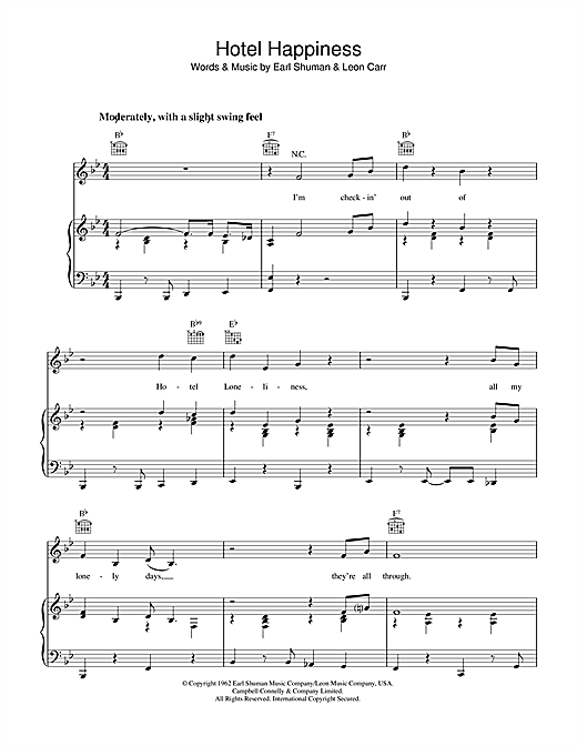 Earl Shuman Hotel Happiness sheet music notes and chords. Download Printable PDF.