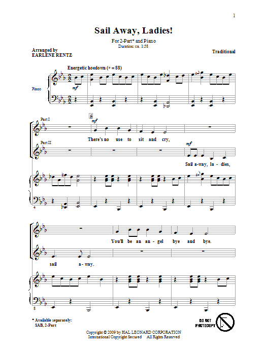 Traditional Sail Away, Ladies! (arr. Earlene Rentz) sheet music notes and chords. Download Printable PDF.