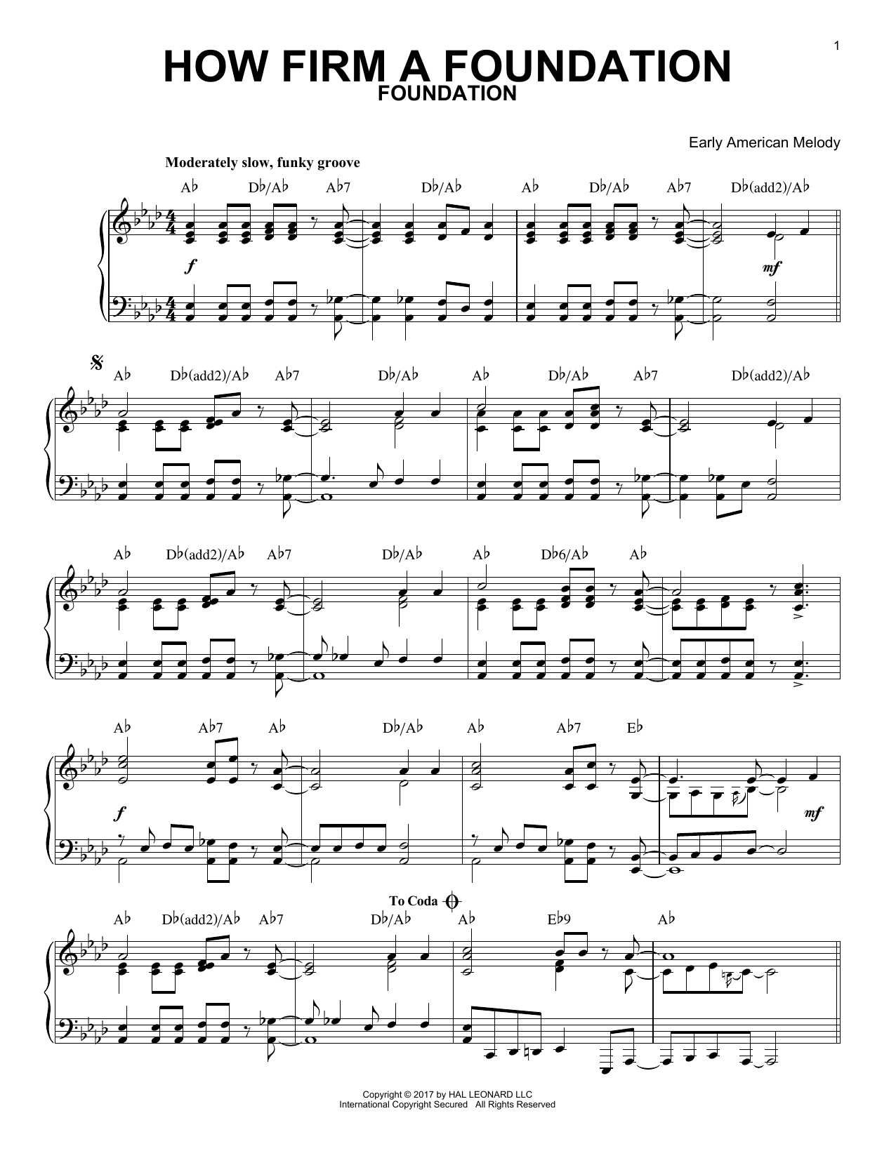 Early American Melody How Firm a Foundation [Jazz version] sheet music notes and chords. Download Printable PDF.