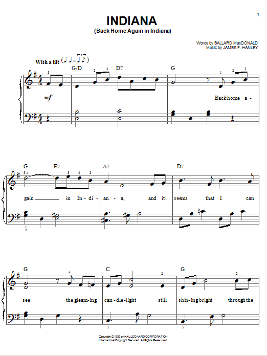 Early Jazz Standard Indiana (Back Home Again In Indiana) sheet music notes and chords. Download Printable PDF.