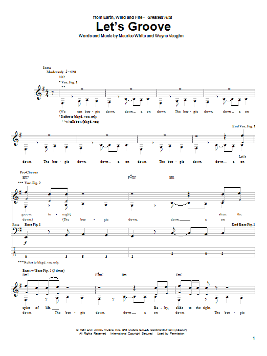 Earth, Wind & Fire Let's Groove sheet music notes and chords. Download Printable PDF.